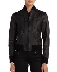 Saint Laurent Embellished Leather Bomber Jacket