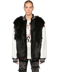 Faith Connexion Faux Fur Leather Bomber Jacket