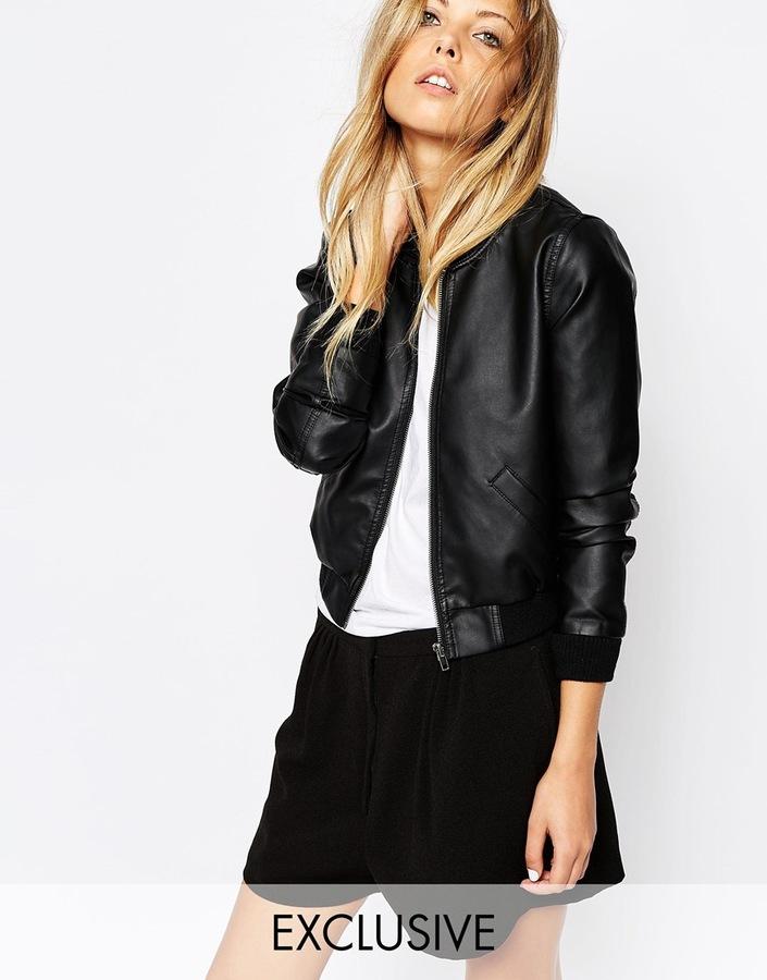 176afa144 $86, Noisy May Faux Leather Bomber Jacket