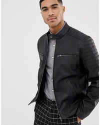 ASOS DESIGN Faux Leather Jacket With Quilting