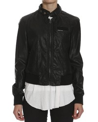 Members Only Faux Leather Snakeskin Bomber