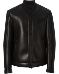 Fendi Knit Leather Bomber Jacket