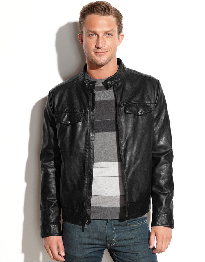 Mens leather jacket kenneth cole