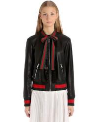 Gucci Embellished Nappa Leather Bomber Jacket