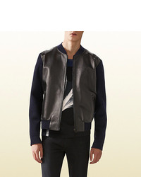 Gucci Wool And Leather Bomber Jacket