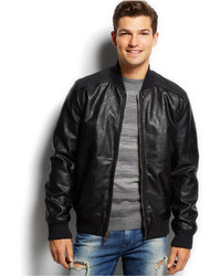Men&39s Black Leather Bomber Jackets by GUESS | Men&39s Fashion