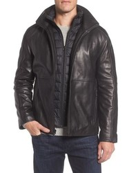 Marc New York Hartz Leather Jacket With Quilted Bib