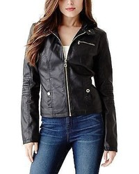 GUESS Havena Faux Leather Bomber Jacket