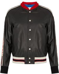 Gucci Hollywood Appliqu Leather Bomber Jacket