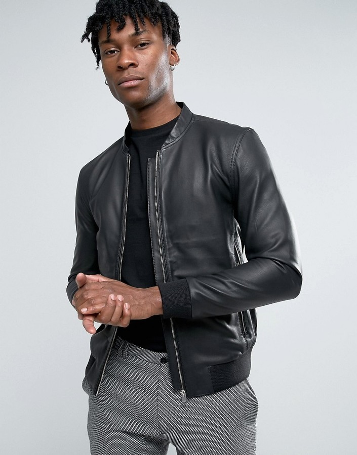 c67221c15 $232, Selected Homme Leather Bomber Jacket