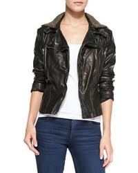 Free People Hooded Faux Leather Moto Jacket Black