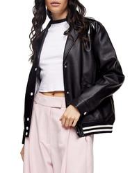 Topshop Idol Faux Leather Bomber Jacket
