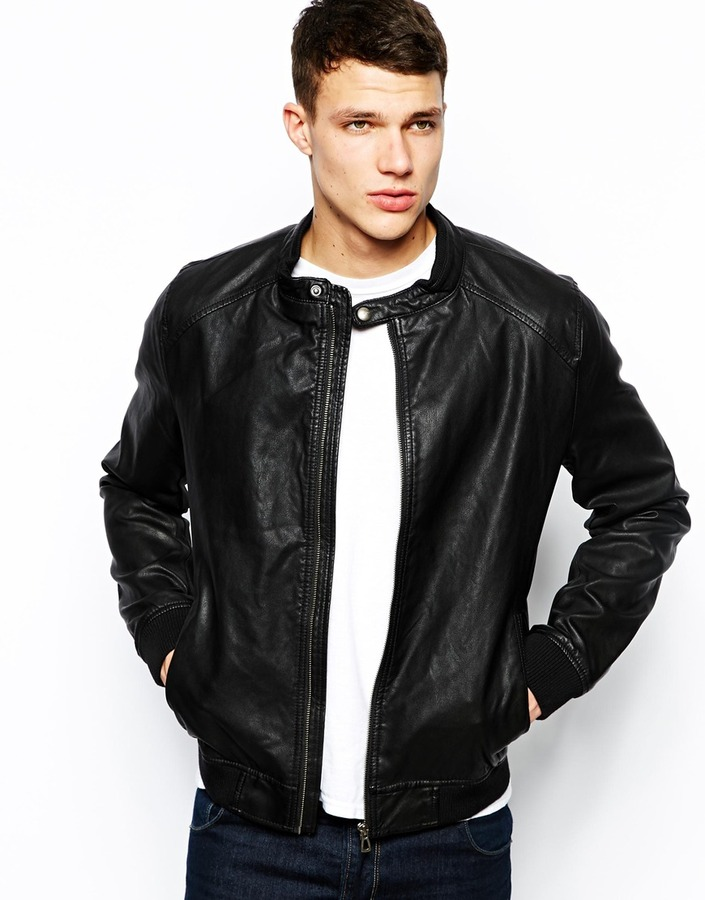 jack and jones jack jones bomber jacket in faux leather black where. Black Bedroom Furniture Sets. Home Design Ideas