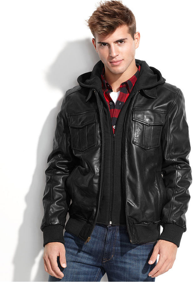 GUESS Jacket Fleece Hood Leather Bomber | Where to buy & how to wear