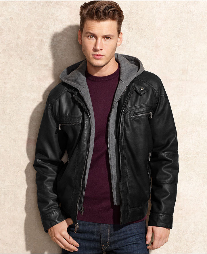 9966adca6 $195, Calvin Klein Jacket Hooded Faux Leather Jacket