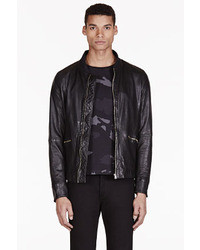 Paul Smith Jeans Black Leather Zip Up Jacket