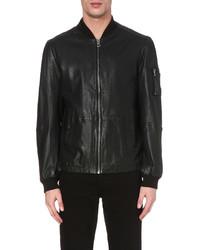 Hugo Boss Jemmay Perforated Leather Bomber Jacket