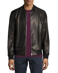 Theory Kelleher Brant Leather Bomber Jacket Black
