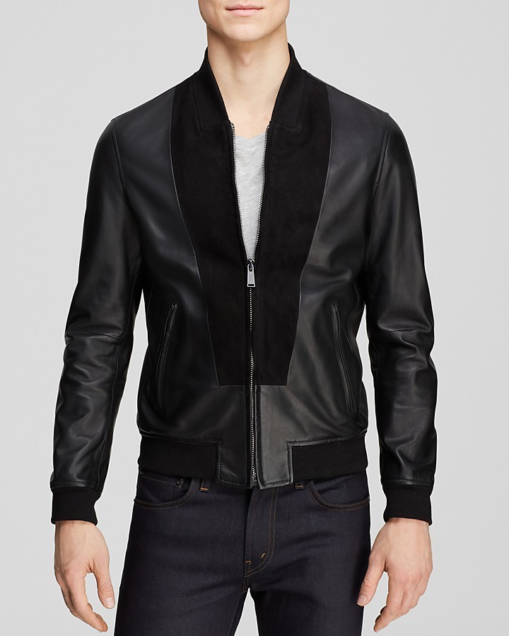 Kent And Curwen Leather Splice Bomber Jacket