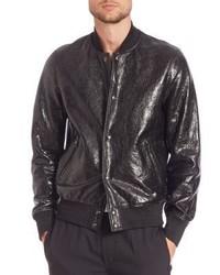 Diesel Black Gold Larbirbo Cracked Lambskin Leather Bomber Jacket