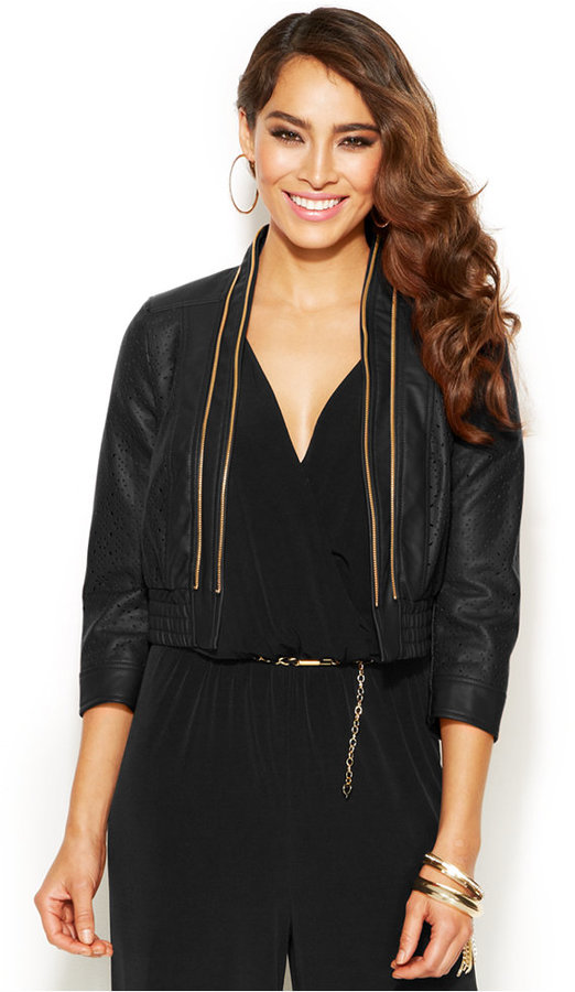 Thalia Sodi Laser Cut Faux Leather Bomber Jacket | Where to buy ...