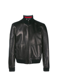 Gucci Leather Bomber Jacket Black