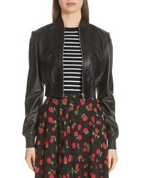 Michael Kors Leather Bomber Jacket