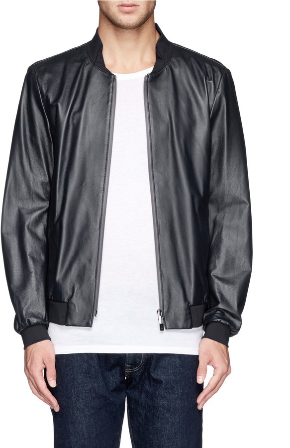 a61a6a17a $1,615, Armani Collezioni Leather Bomber Jacket
