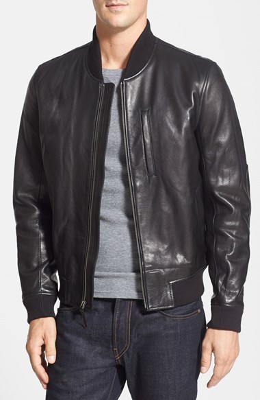 7a9380875 $695, Cole Haan Leather Bomber Jacket