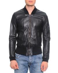 Dolce & Gabbana Leather Bomber Jacket Short Sleeve Henley T Shirt Destroyed Washed Denim Jeans