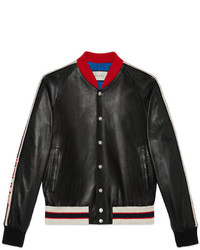 Gucci Leather Bomber Jacket With Appliqu