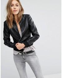 Mango Leather Look Bomber Jacket
