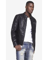 Express Leather Perforated Biker Jacket