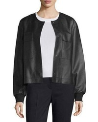 DKNY Leather Snap Front Bomber Jacket Black