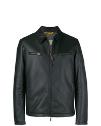 Canali Leather Zipped Up Jacket
