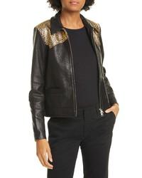 Nili Lotan Leopard Print Yoke Leather Jacket