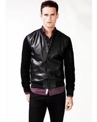 Mango Mixed Leather Bomber Jacket