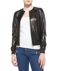 Michael Kors Michl Kors Collection Rib Trim Leather Bomber Jacket