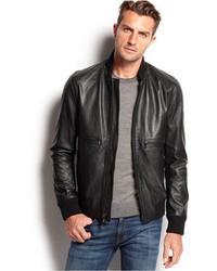 Michael Kors Michl Kors Hooded Leather Bomber Jacket