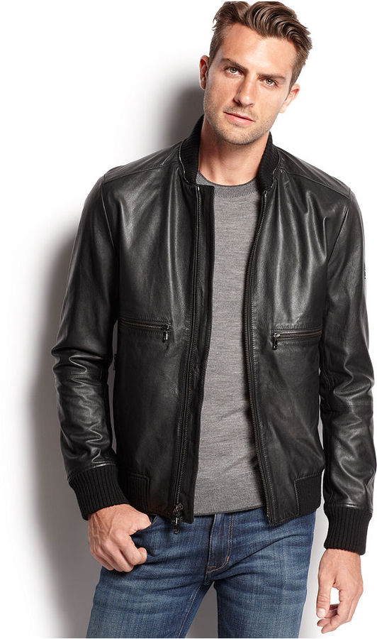 Michael kors men's black leather jacket