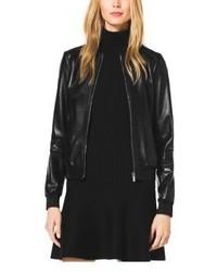 Michael kors women's black leather bomber jacket