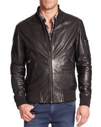 6bd783587f8 Men s Black Leather Bomber Jackets by Hugo Boss