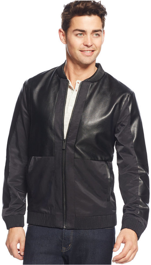 003c1db5 Calvin Klein Mixed Media Bomber Jacket, $178 | Macy's | Lookastic.com