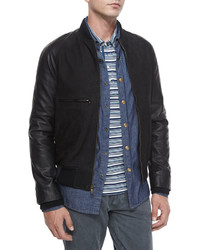 Billy Reid Mixed Media Leather Bomber Jacket Black