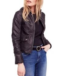 Free People Monroe Hooded Faux Leather Moto Jacket