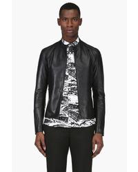 Maison Martin Margiela Navy Leather Bomber Jacket