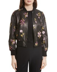 New york in bloom leather bomber jacket medium 5209114