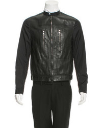 John Varvatos Paneled Leather Bomber Jacket