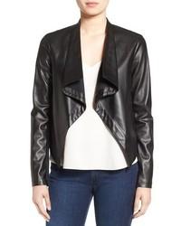 BB Dakota Peppin Drape Front Faux Leather Jacket