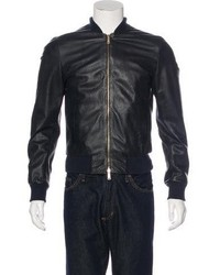 DSQUARED2 Perforated Leather Bomber Jacket
